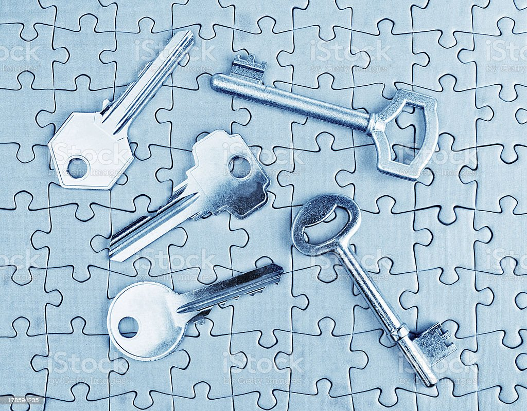 Different types of keys on the puzzle close-up. royalty-free stock photo
