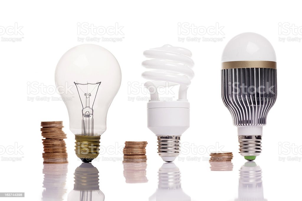 different types of light bulbs royalty-free stock photo