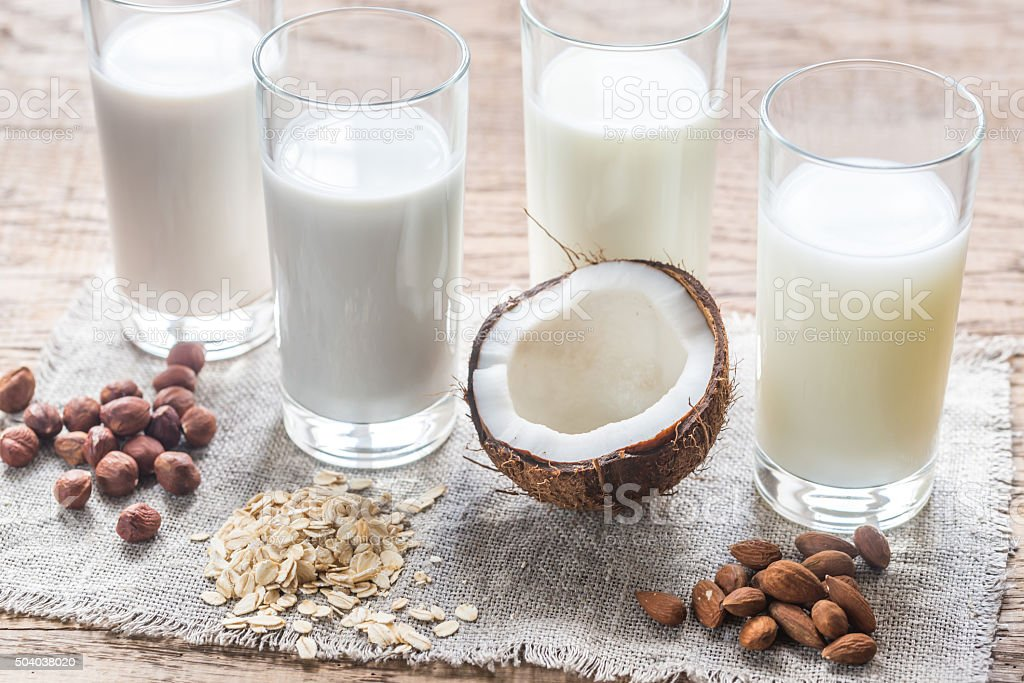 Different types of non-dairy milk stock photo