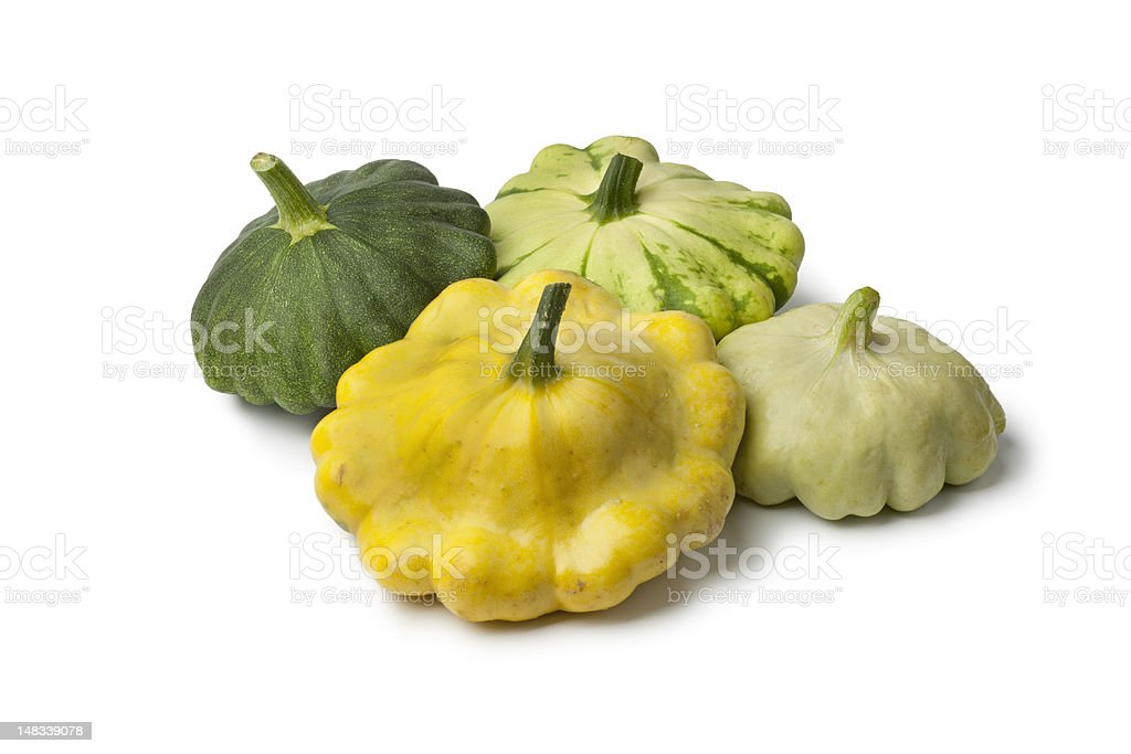 Different types of  Pattypan Squashes stock photo