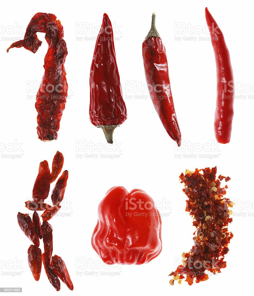 different types of red chillies stock photo