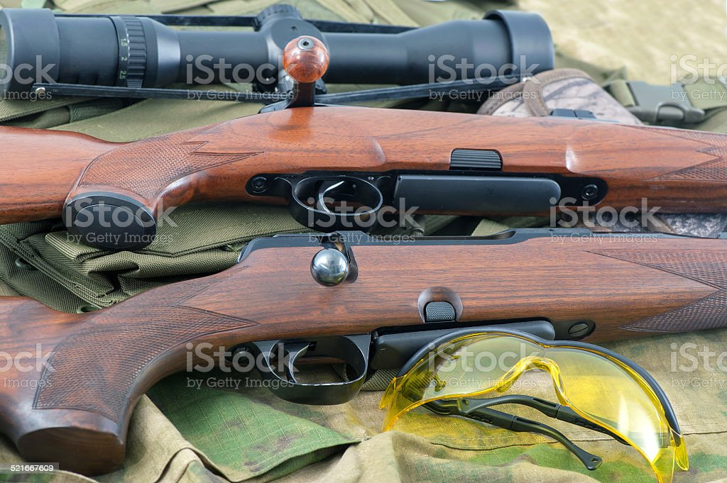 Different types of rifle guns stock photo
