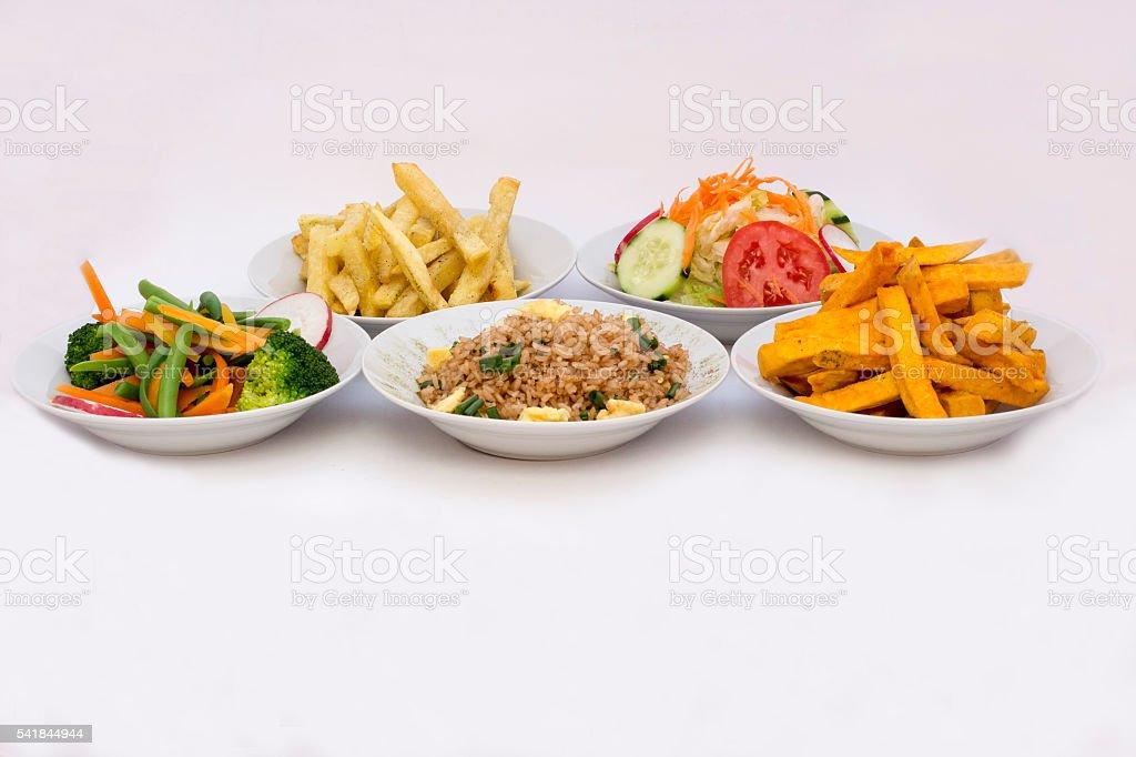5 different types of salads: Sweet potatoe, fried rice stock photo