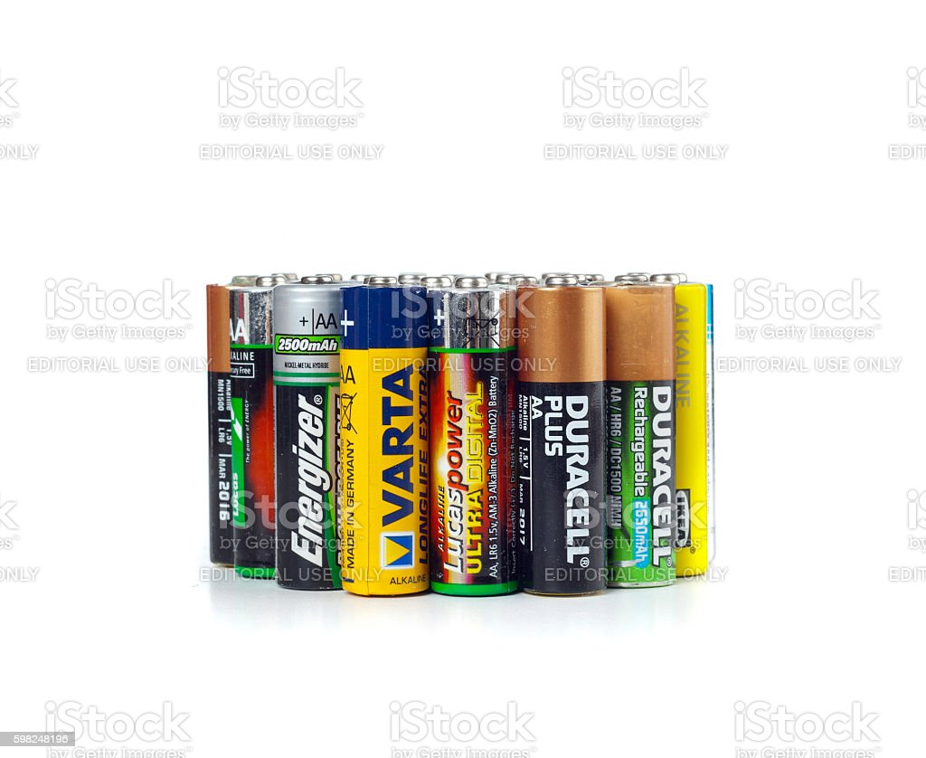 Different types of used batteries ready for recycling stock photo