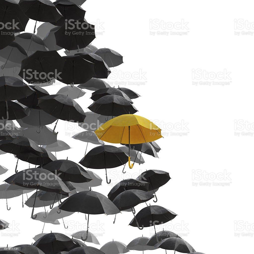 Different umbrella in yellow stock photo