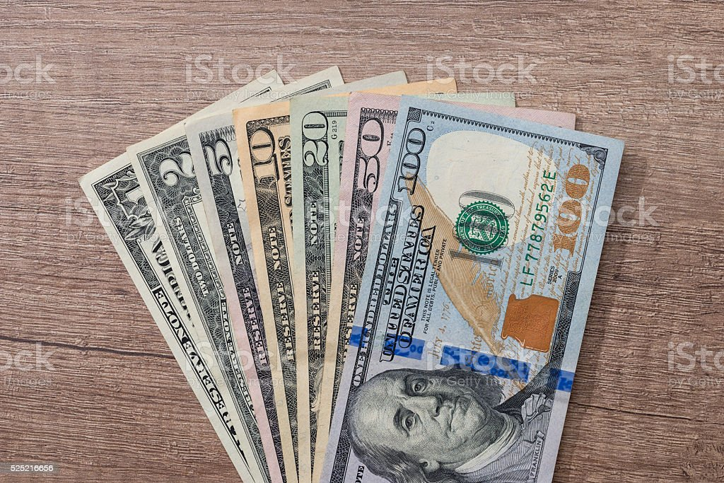 different us dollar on desk stock photo