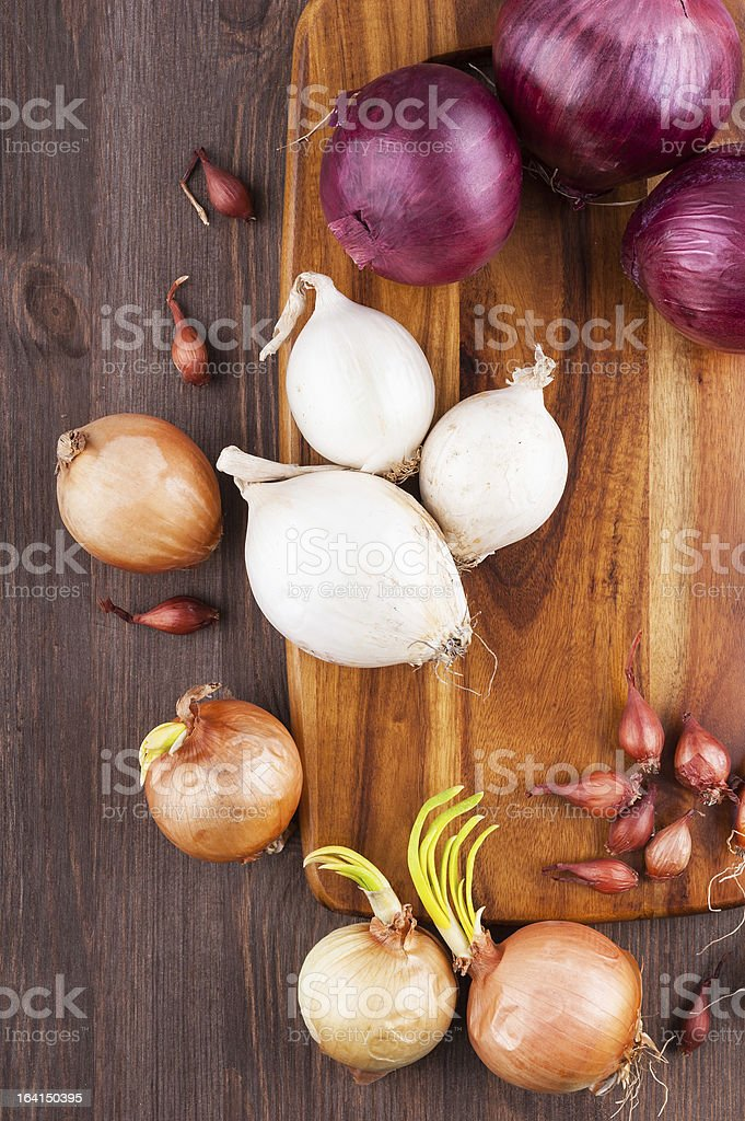 Different varieties of onions royalty-free stock photo