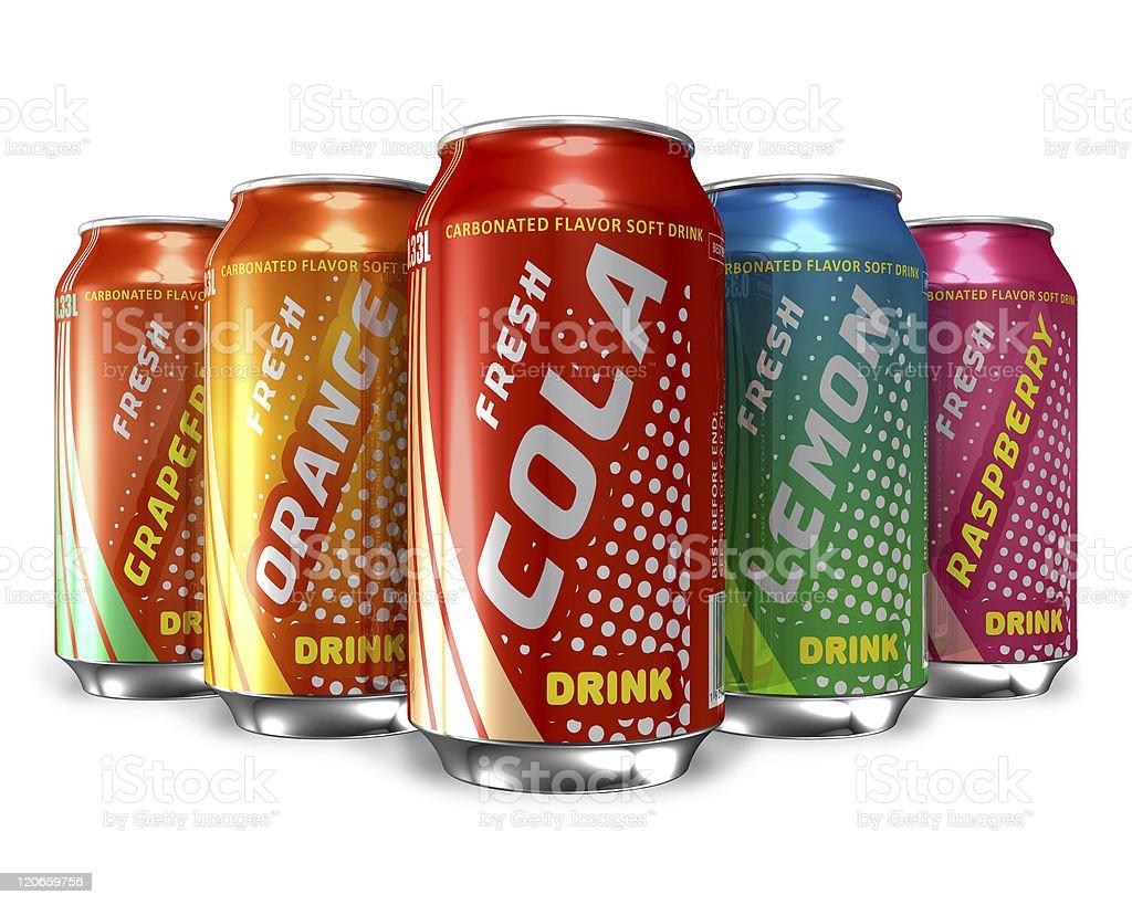 Different varieties of soda drinks stock photo
