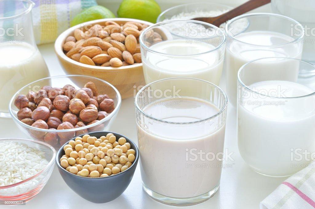 Different vegan milks. stock photo