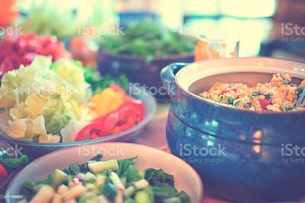 Different vegetables and CousCous salad stock photo