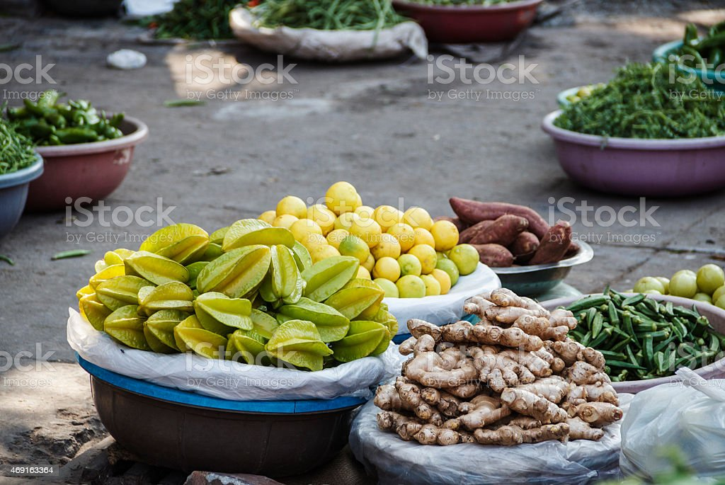 Different vegetables at a street market in asia. India stock photo