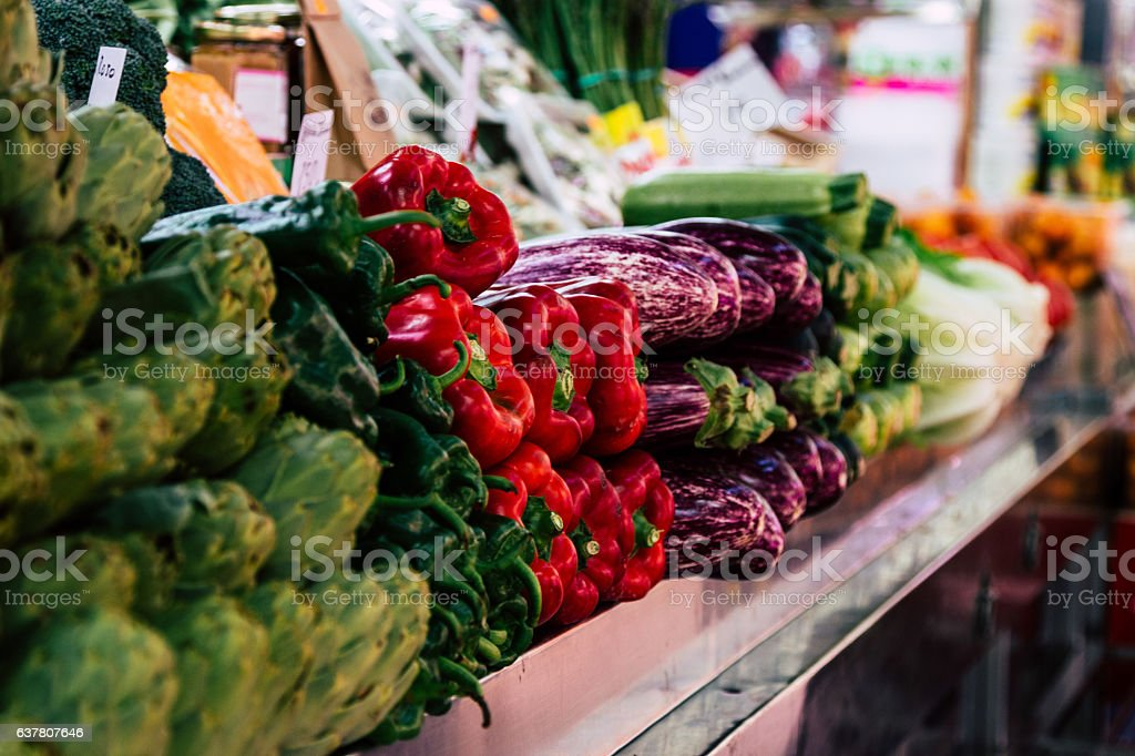 Different vegetables at the marketplace stock photo