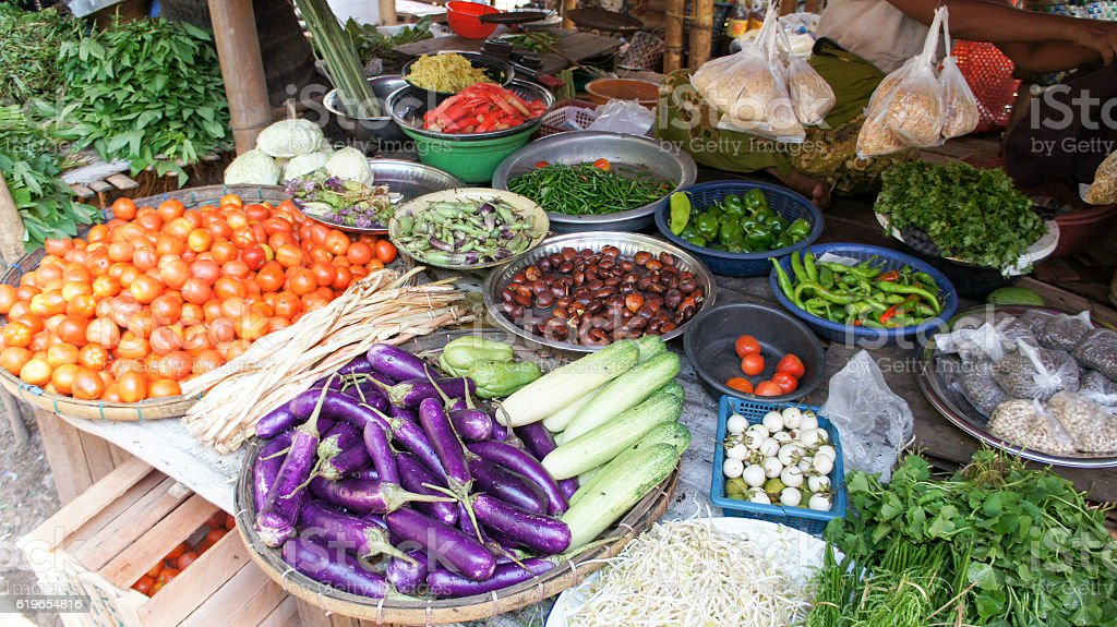 Different vegetables on a local burmese market stock photo