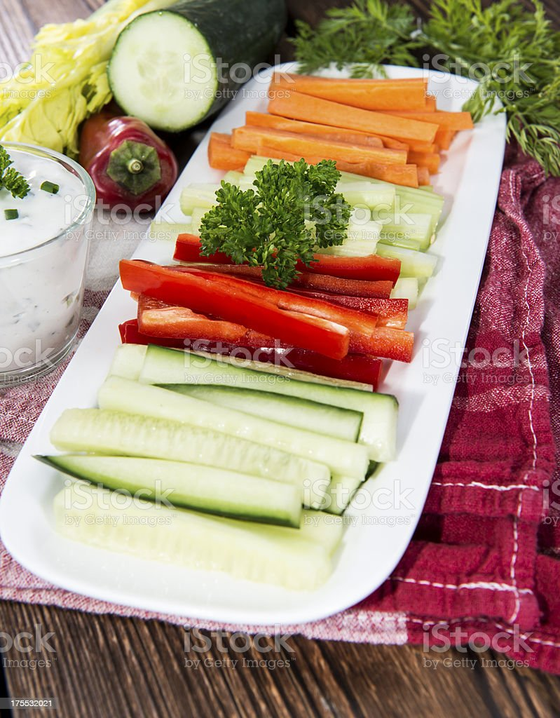 Different Vegetables with Dip stock photo