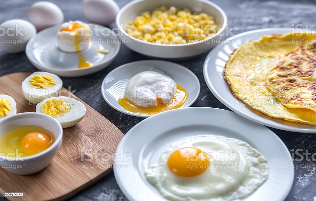 Different ways of cooking eggs stock photo