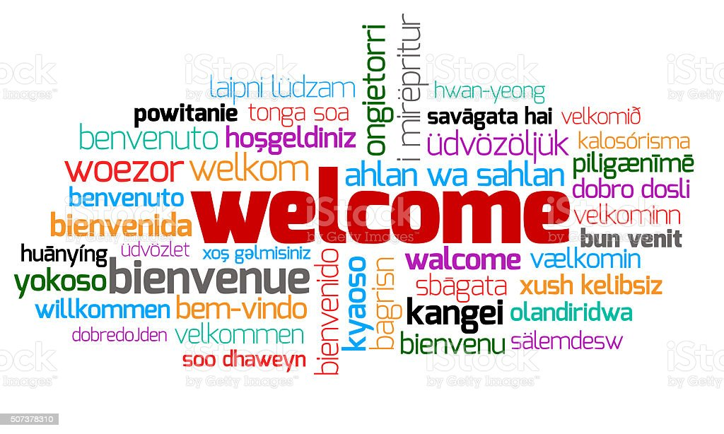 Different Welcome Other Language stock photo