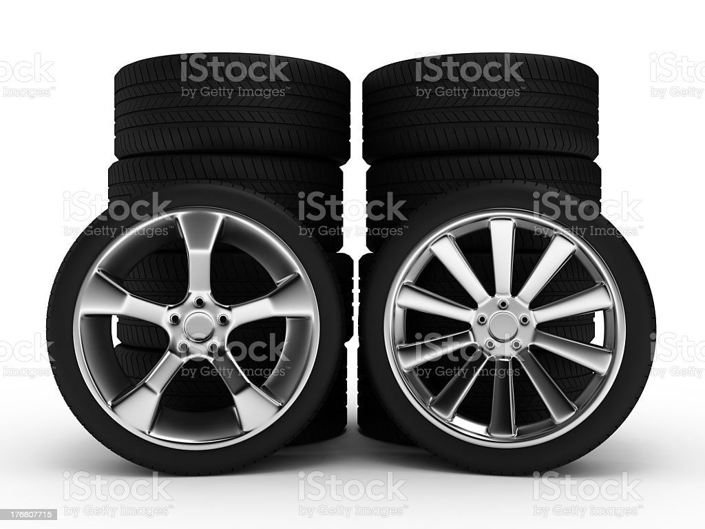 Different wheels with tires royalty-free stock photo