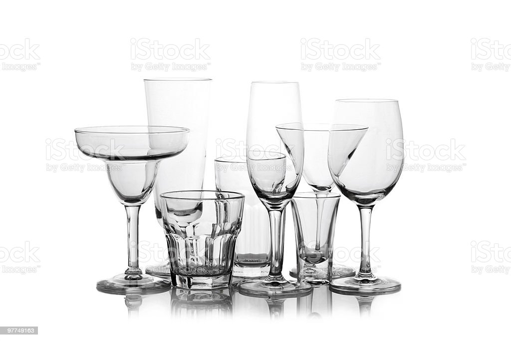 different Wine glasses silhouetted on white royalty-free stock photo