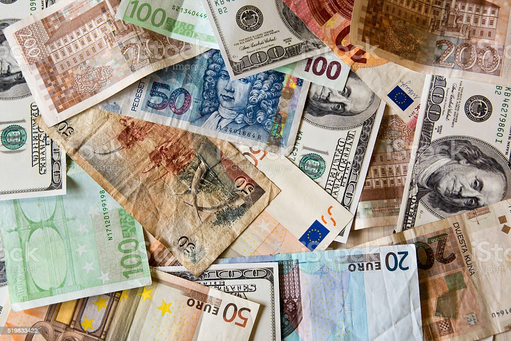 different World banknotes stock photo