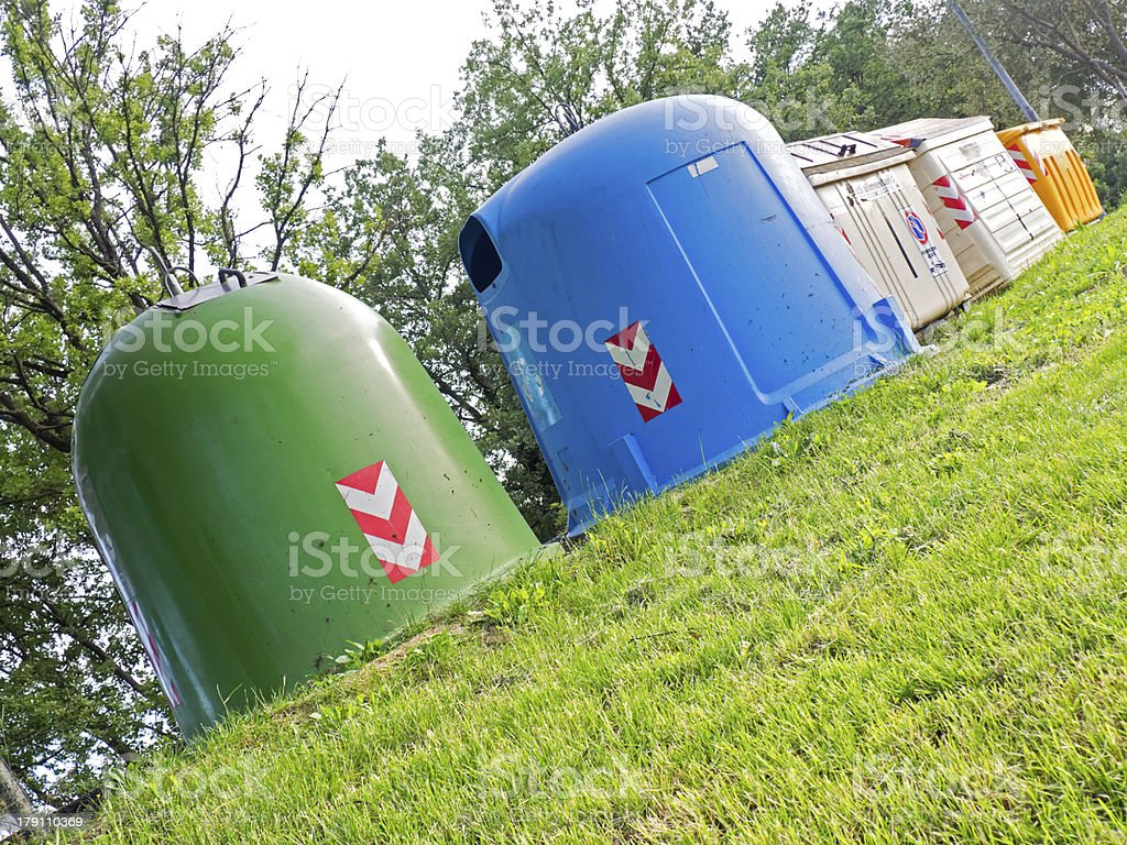 differentiated waste collection on the lawn stock photo