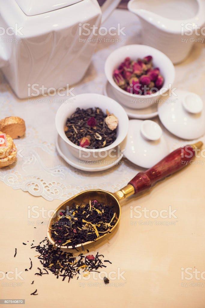 Diffferent tea set stock photo