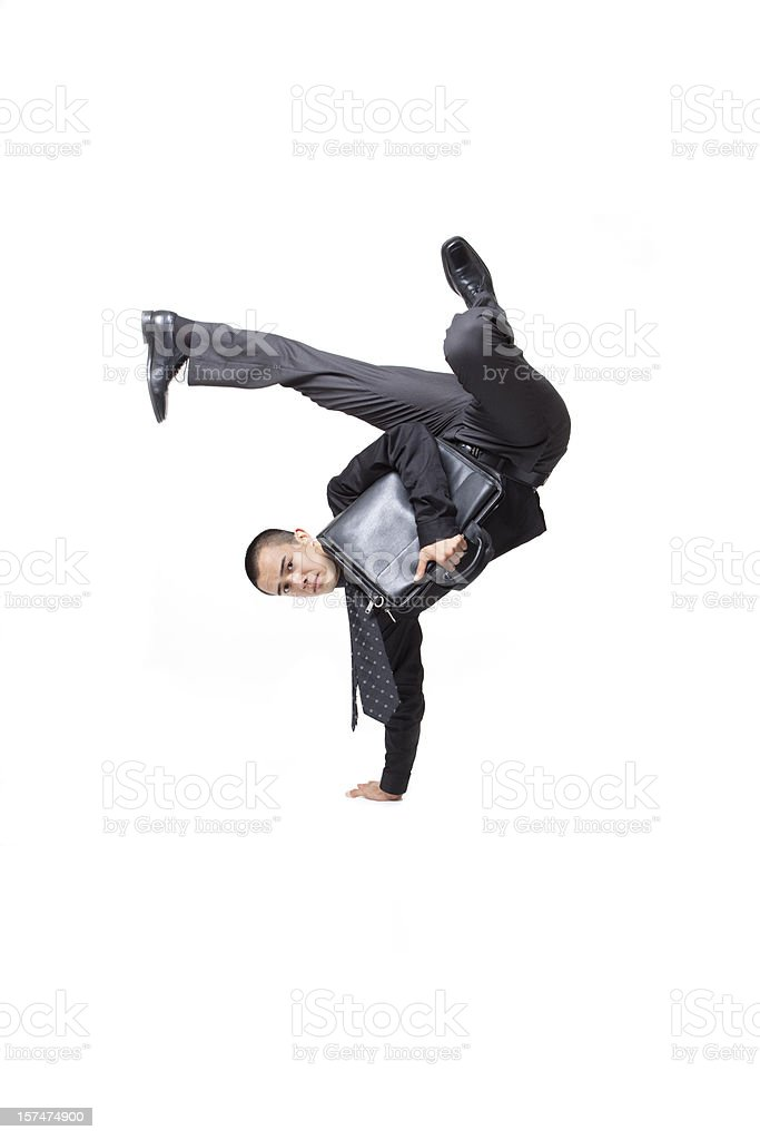 Difficult Hard Manuvers Business Man Working Above and beyond stock photo