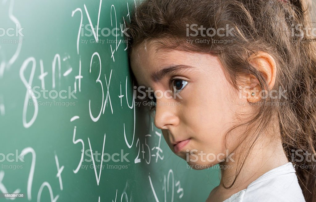 difficult math lesson stock photo