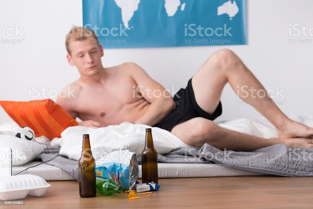 Difficult morning after a party stock photo