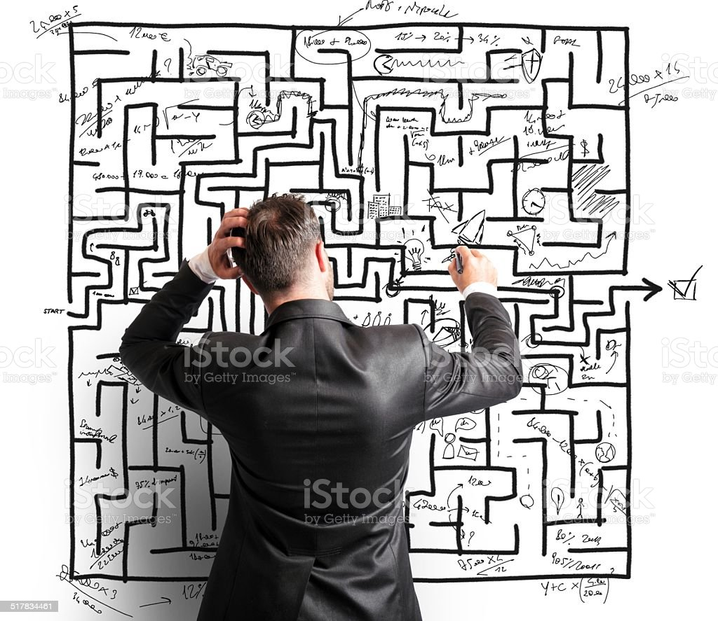 Difficult resolution of a maze stock photo
