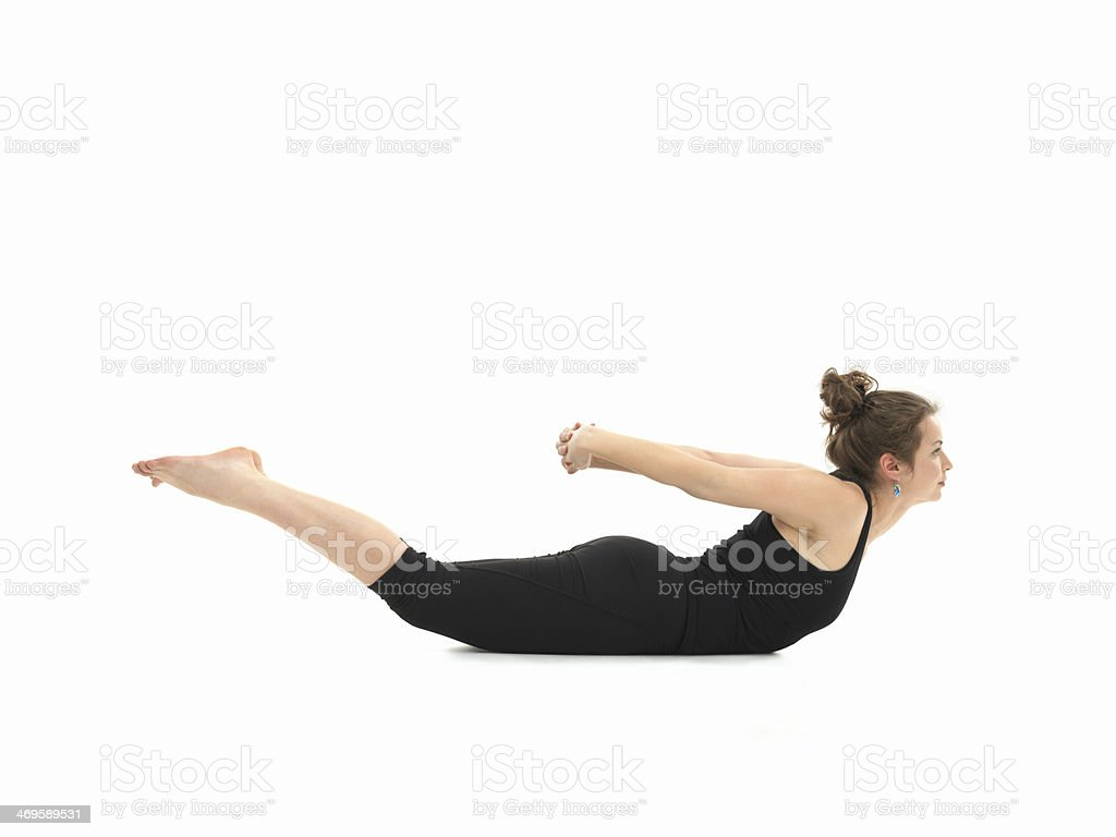 difficult yoga posture stock photo