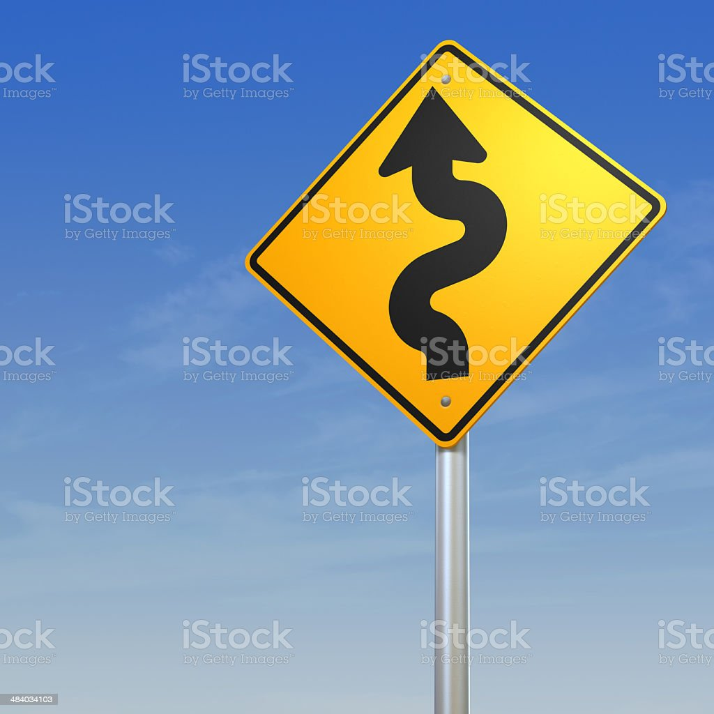 Difficulties concept Winding Road Sign royalty-free stock photo