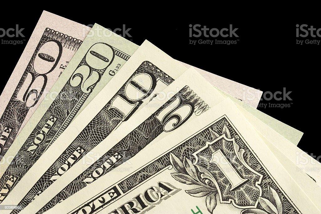 Diffrent dollar bills royalty-free stock photo