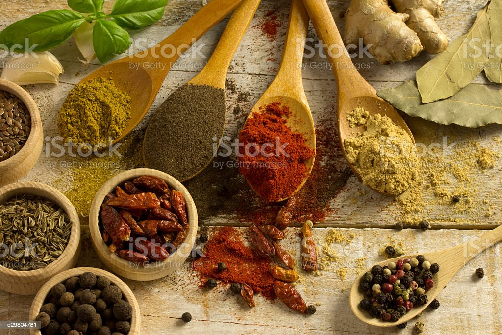 diffrent spices stock photo