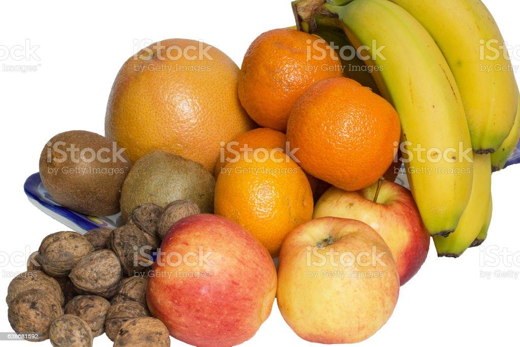 Différents fruits sur fond blanc stock photo
