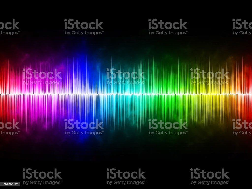 Diffusely Rainbow Soundwave with Black Background stock photo