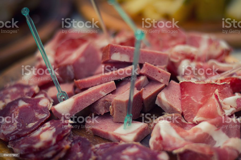 Dig In: Salami and Deli Meats On Serving Platter stock photo