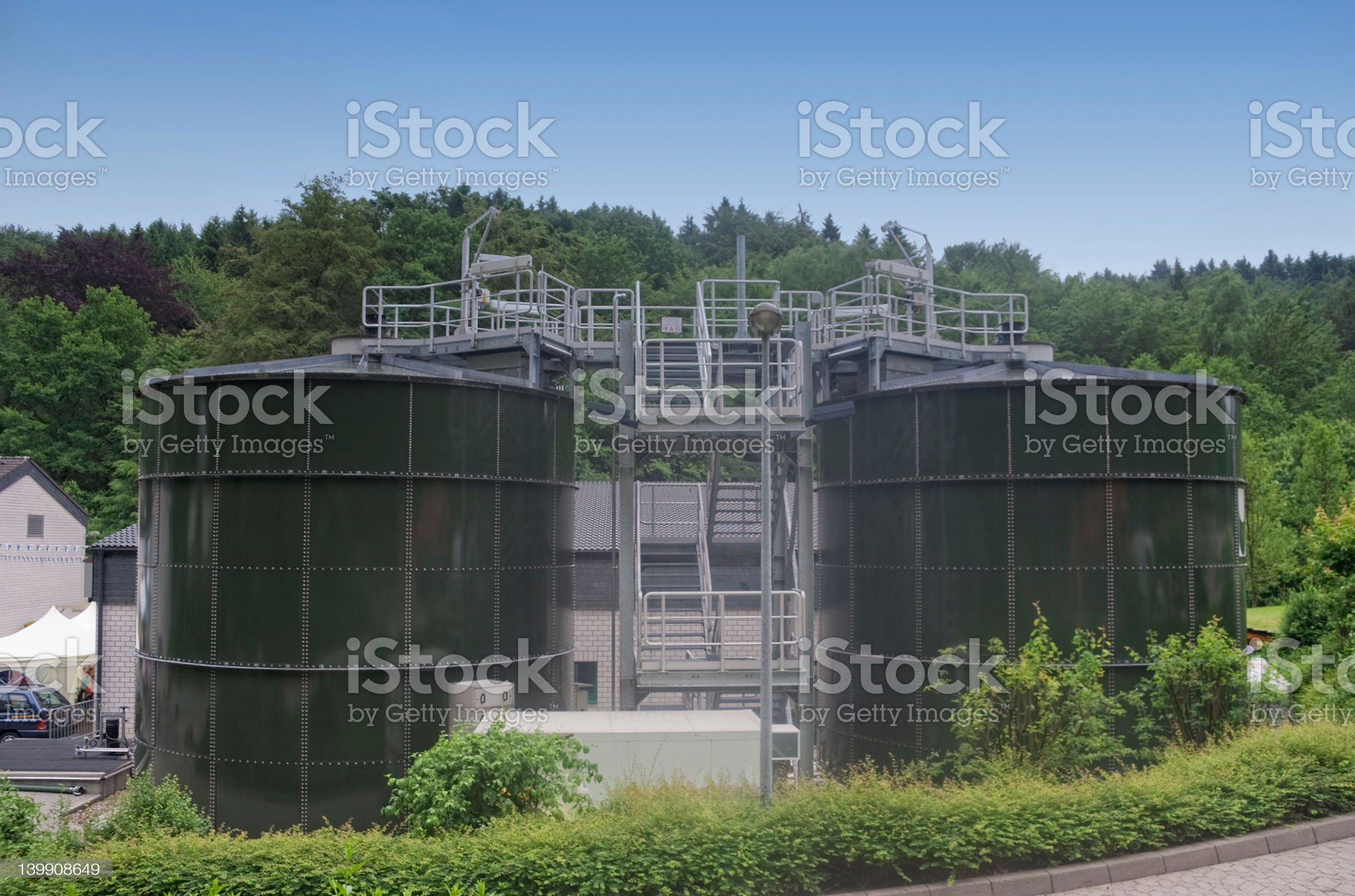 Digester Towers royalty-free stock photo