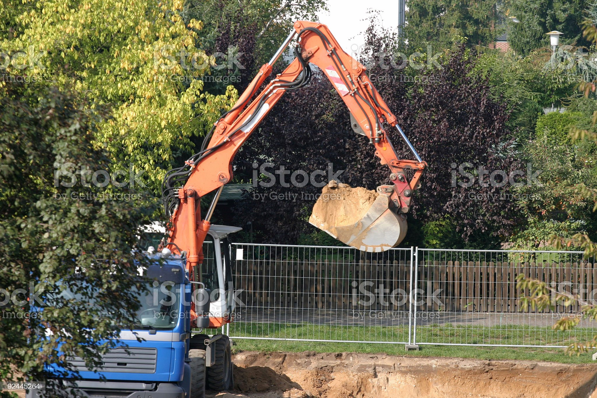 Digger on construction site royalty-free stock photo