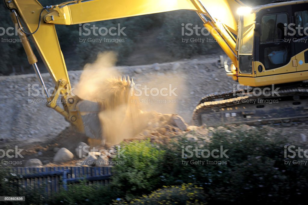Diggerloader at Work stock photo