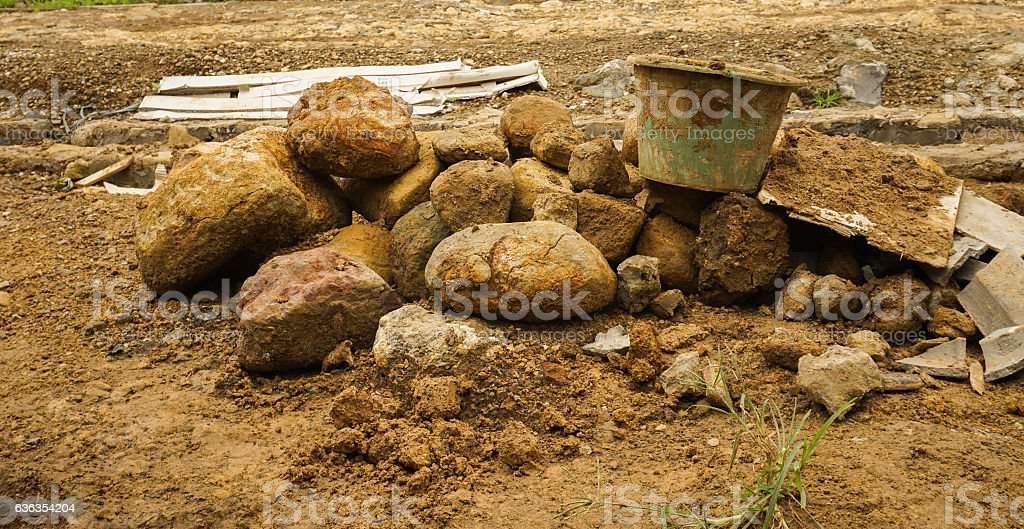 Digging activity for construction building photo taken in Bogor Indonesia stock photo