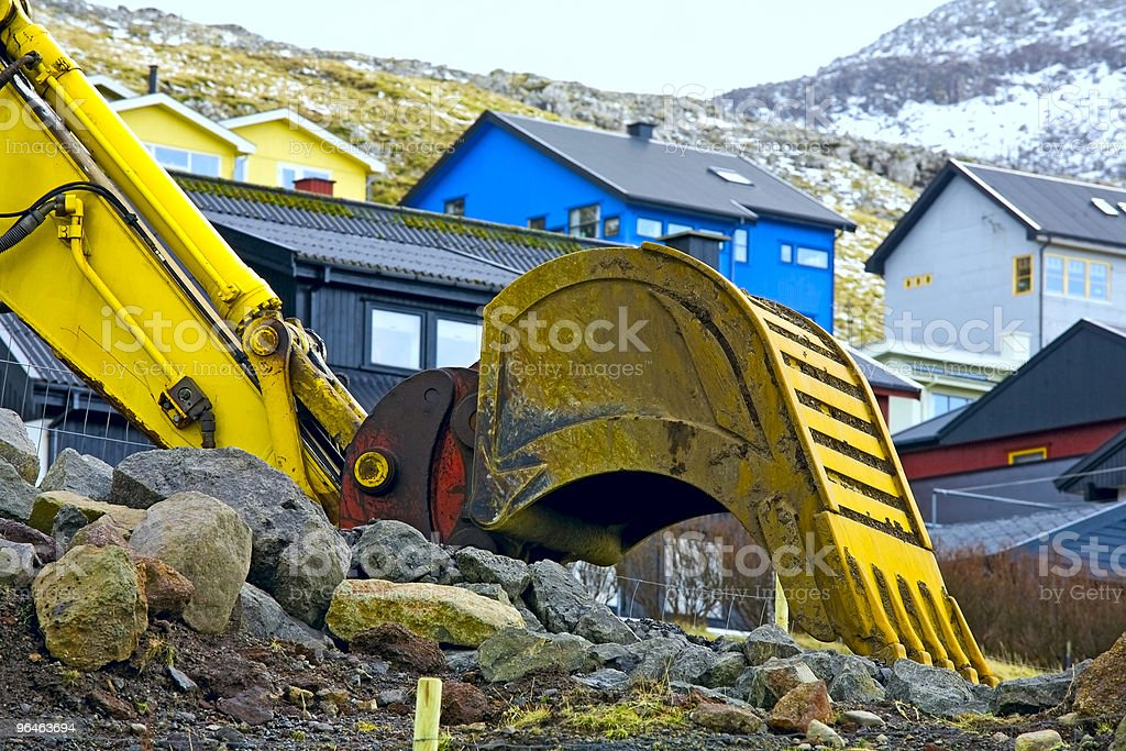 Digging bucket yellow color royalty-free stock photo