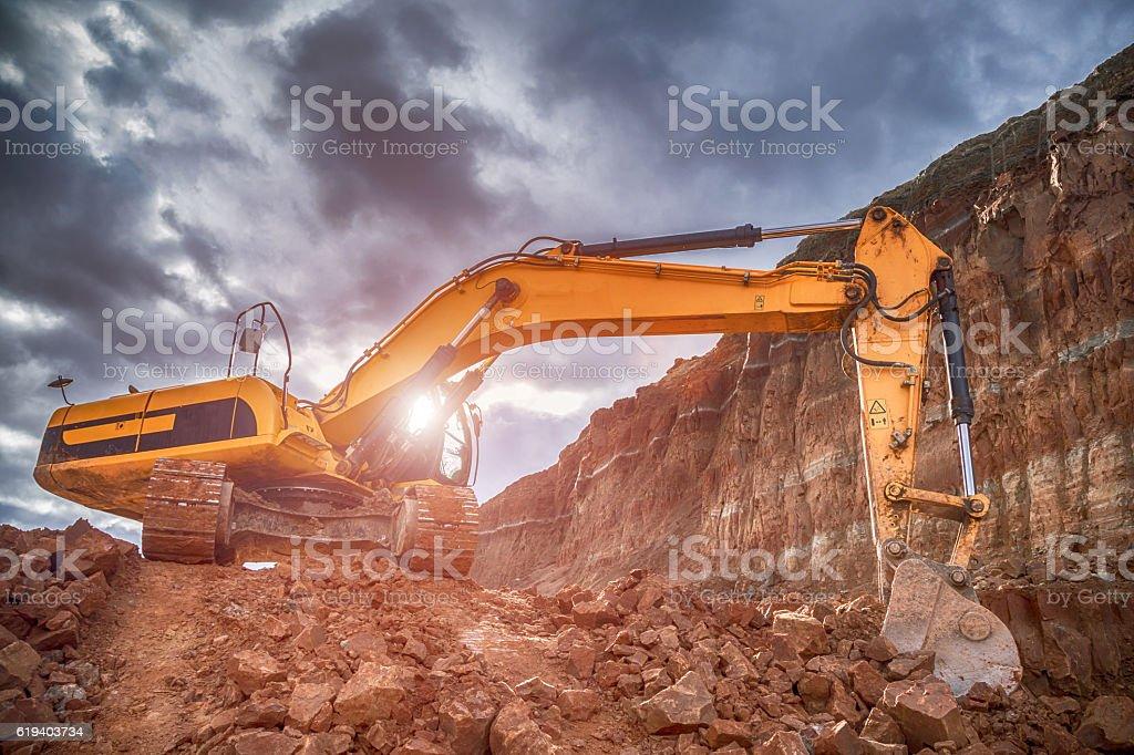 Digging excavator stock photo