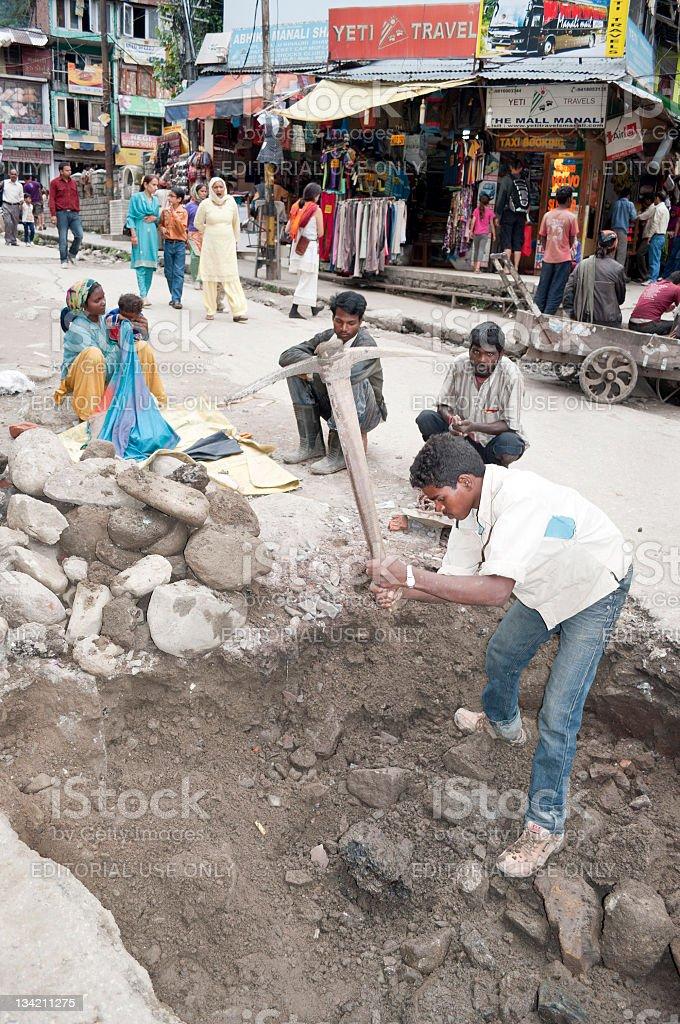 Digging in Manali India royalty-free stock photo