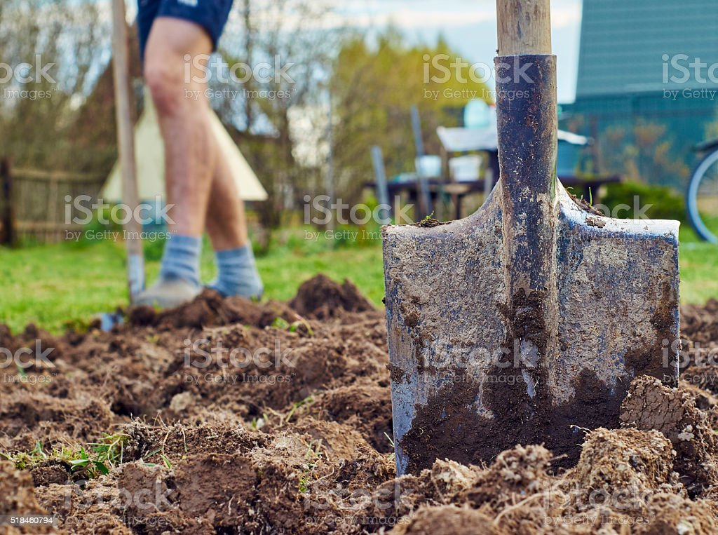 Digging the earth stock photo
