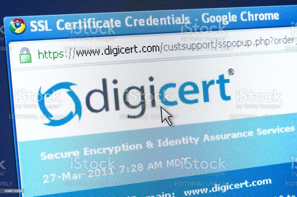 Digicert Sslzertifikat Referenzen Webseite Stockfoto 458670399 | iStock