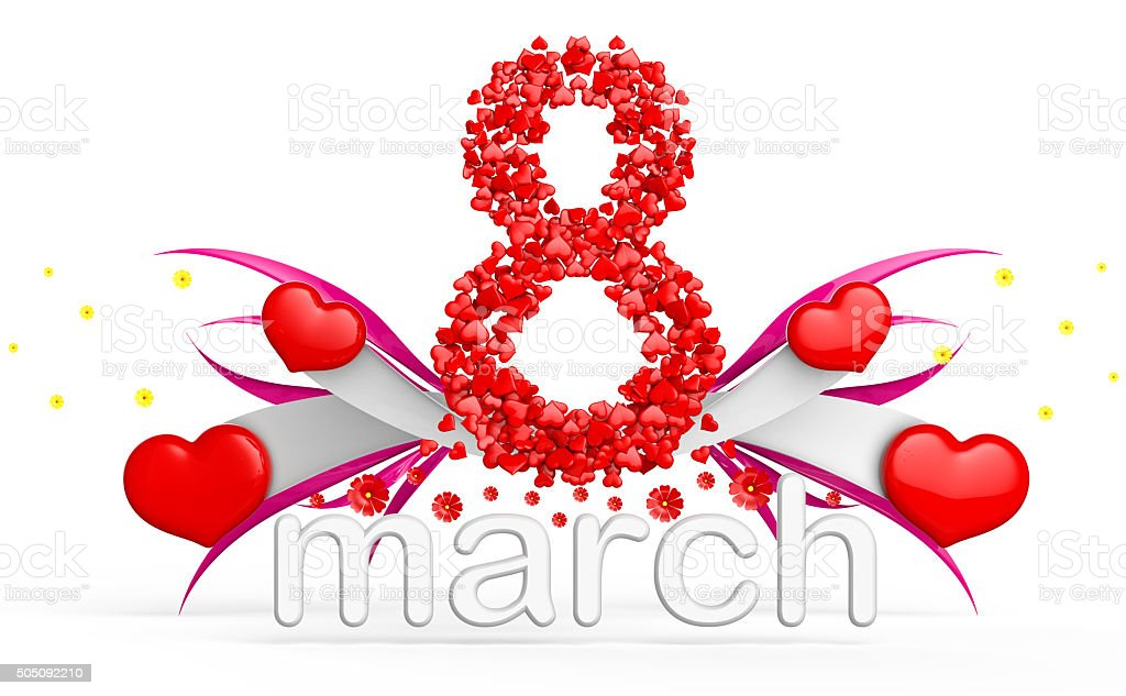 digit eight consisting of red hearts for March 8 stock photo