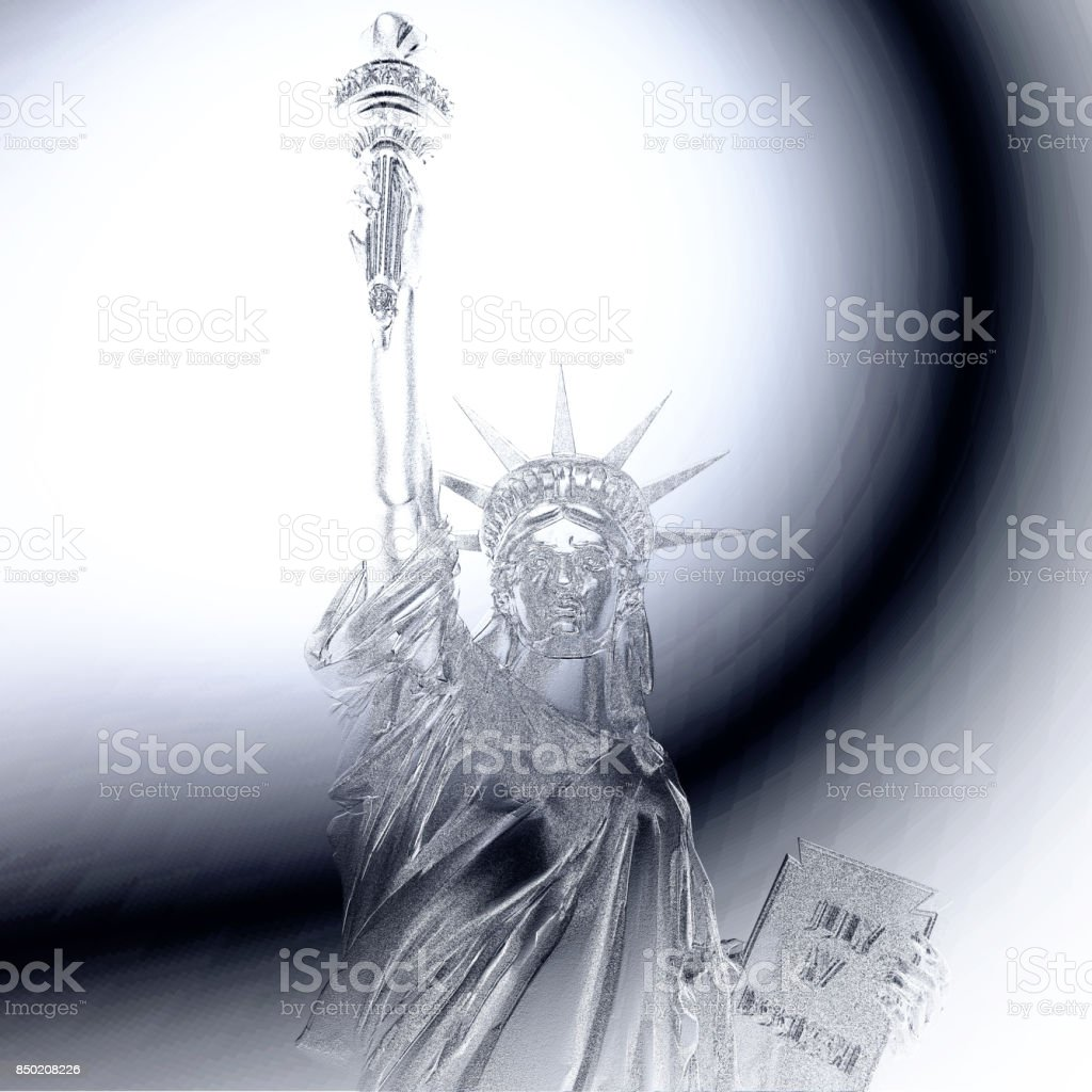 Digital 3D Illustration of a Statue of Liberty Relief stock photo