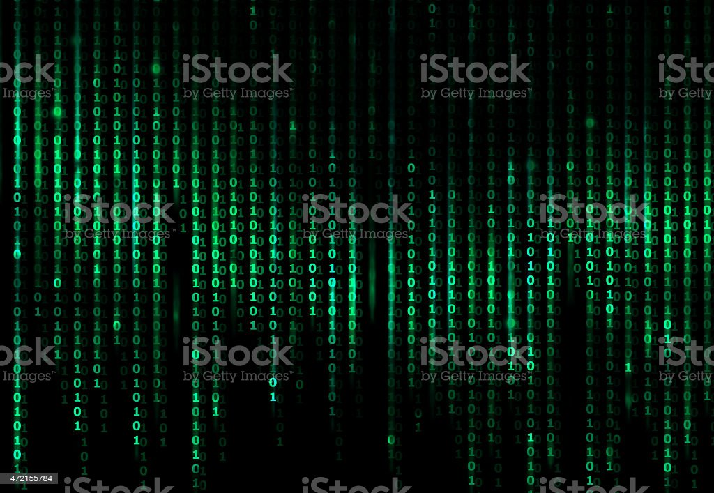 A digital abstract background with green binary code stock photo