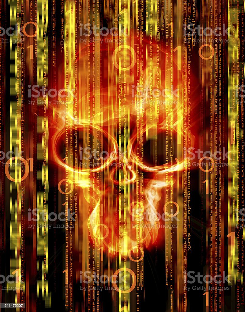 digital abstract background with skull stock photo