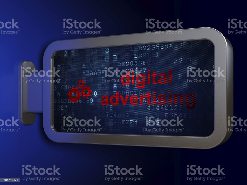Digital Advertising and Gears on billboard background royalty-free stock photo